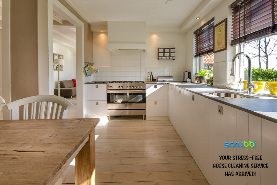 Clean kitchen with Scrubbi your stress-free house cleaning service