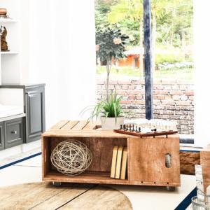 wooden coffee table in clean livingroom
