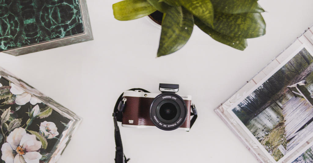 camera with plant and photos