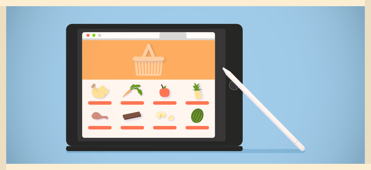 Shopping for grocery online with an ipad